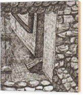 Hidden Courtyard Wood Print