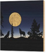 Hidden Wolves Wood Print by Shane Bechler