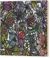 Hide And Seek In Wildflower Bushes Wood Print