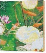 Hide And Seek Kio In The Green Pond Wood Print by Judy Loper