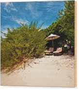 Hideaway. Maldivian Beach Wood Print by Jenny Rainbow