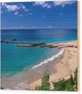 High Angle View Of A Pier On Crashboat Beach Puerto Rico. Wood Print