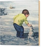 High Country Snow Girl Wood Print
