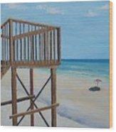 High Deck At Blue Mountain Beach Wood Print
