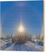 High Dynamic Range Photo Of Sundogs Wood Print