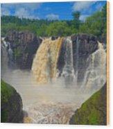 High Falls In July Wood Print