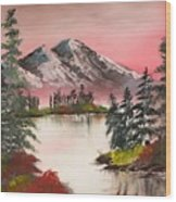 High Lakes Summer Sunset Wood Print