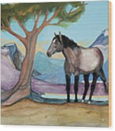 High Meadow Mustang Wood Print