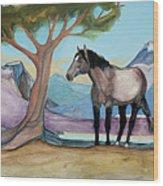 High Meadow Mustang Wood Print