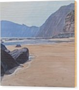 High Peak Cliff Sidmouth Wood Print