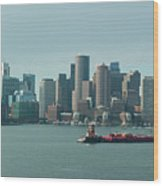 High Resolution Panoramic Of Downtown Boston During The Day Wood Print