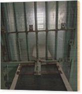 High Risk Solitary Confinement Cell In Prison Through Bars Wood Print