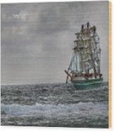 High Seas Sailing Ship Wood Print by Randy Steele