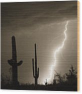 High Southwest Desert Lightning Strike Wood Print