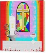 High Stained Glass Wood Print
