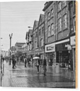 High Street Rhyl On A Wet Summers Day North Wales Uk Wood Print