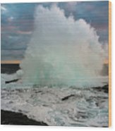 High Surf Explosion Wood Print