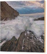 High Tide At Bald Head Cliff Wood Print