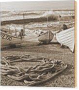 High Tide In Sennen Cove Sepia Wood Print