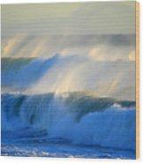 High Tide On The Atlantic Ocean Wood Print