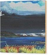High Tide Swans Wood Print