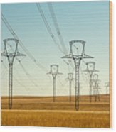 High Voltage Power Lines Wood Print