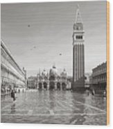 High Water In S.marco Square Wood Print