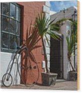 High Wheel Bicycle In Bermuda Wood Print