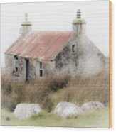 Highland Cottage In The Mist Wood Print