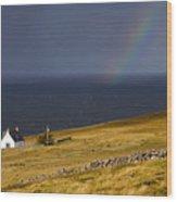 Highland Cottage With Rainbow Applecross Wood Print