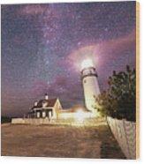Highland Light Truro Massachusetts Cape Cod Starry Sky Shadow Yard Wood Print