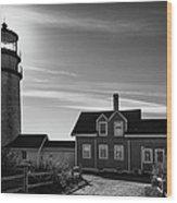Highland Lighthouse Bw Wood Print