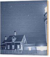 Highland Lighthouse Truro Ma Cape Cod Monochrome Blue Nights Wood Print