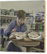 Highland Stoneware Artist At Work Wood Print