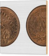 Highly Graded American Indian Head Cents On White Background  Wood Print