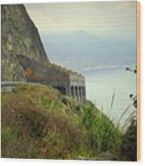 Highway 1 At Lucia South Of Big Sur Ca Wood Print