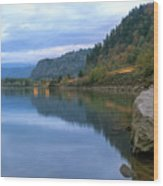 Highway Light Trails On Columbia River Gorge Wood Print