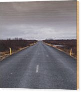 Highway Straight Road Leading To The Snowy Mountains Wood Print