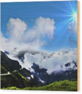 Highway Through The Andes - Painting Wood Print