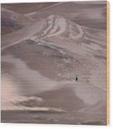 Hiker - Great Sand Dunes - Colorado Wood Print
