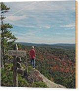 Hiker In Acadia National Park Wood Print
