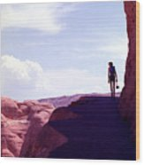 Hiker In Silhouette Wood Print