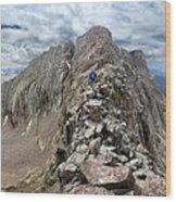 Hiker On Mt Eolus Catwalk - Chicago Basin - Weminuche Wilderness - Colorado Wood Print