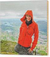 Hiker Woman In Norway Wood Print