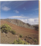 Hikers Inside Haleakala  Wood Print