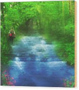 Hiking At The Rivers Edge Wood Print