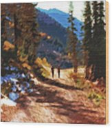 Hiking Couple In The Wasatch Wood Print