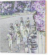 Hiking Down The Street I  Painterly Glowing Edges Invert  Wood Print