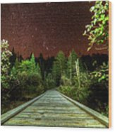 Hiking Into The Night Adirondack Log Keene Valley Ny New York Wood Print