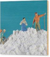 Hiking On Flour Snow Mountain Wood Print